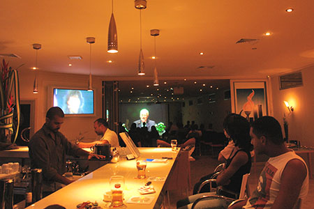 9/11 Event in Suriname — Watching the David Ray Griffin lecture all the way from the bar.
