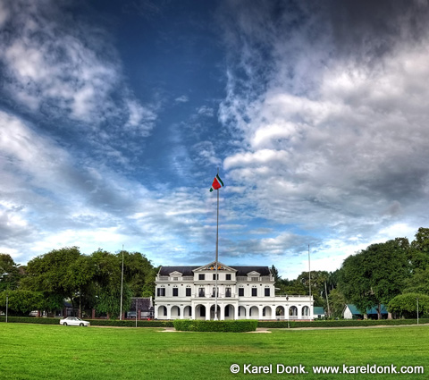 HDR Panoramic view of the Presidential Palace in Paramaribo, Suriname (click for larger view)