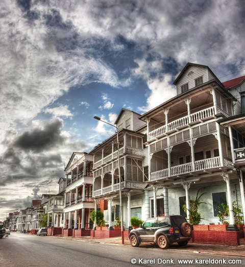 HDR Panoramic view of colonial buildings at Waterkant, Paramaribo, Suriname (click for larger view)