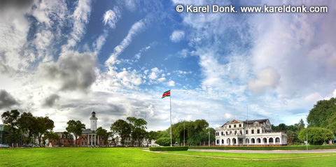 HDR Panoramic view of the Presidential Palace and the Ministry of Finance building in Paramaribo, Suriname (click for larger image)