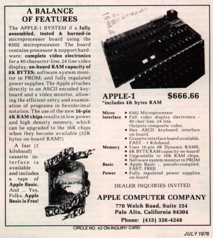 Ad for the Apple I