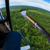 Aerial Photography — Flying alongside the barges to our next position for the best angle