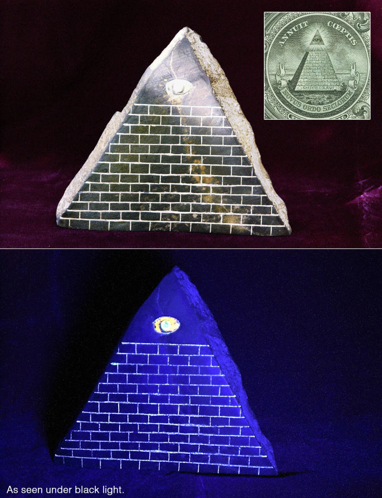 Pyramid with All Seeing Eye with in the top-right the Eye of Providence as seen on the reverse of the Great Seal of the United States on the US $1 bill.