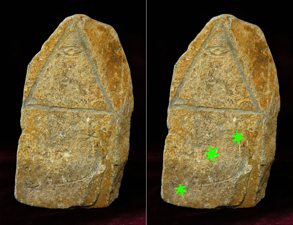 Stone artifact with a pyramid containing the All Seeing Eye and below it the Orion star constellation (marked in green on the right)