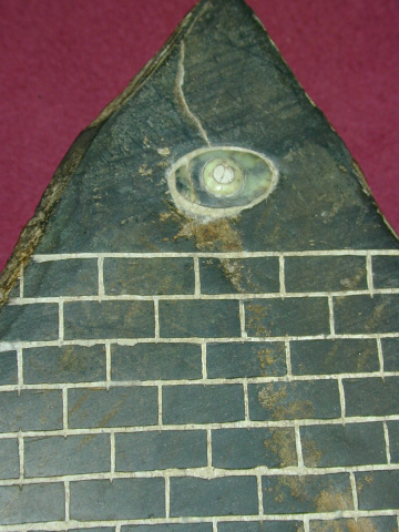 A closeup of the All Seeing Eye on the pyramid