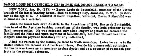Hitler arrested Baron Louis de Rothschild