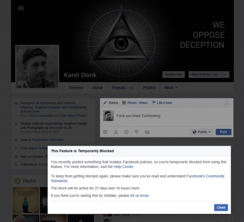 Blocked from posting for 30 days on Facebook -- thanks Fuckerberg