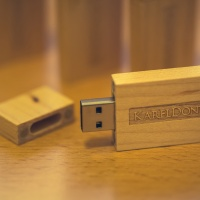 Custom USB Flash Drive — One of the flash drives with the cap off.