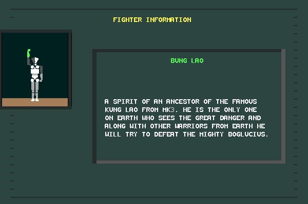 ASCII Kombat — Fighter Info Screen for Bung Lao