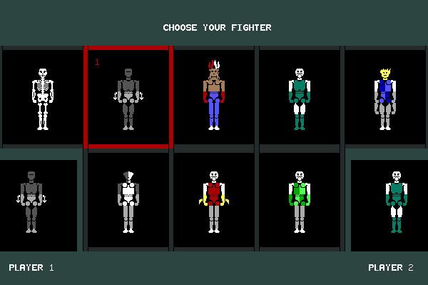 ASCII Kombat — Fighter selection screen