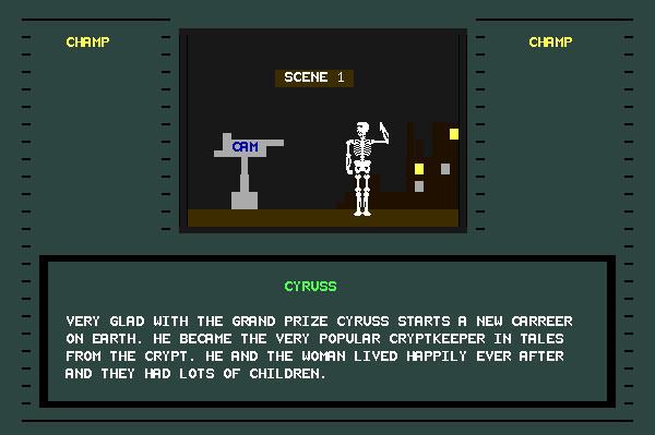 ASCII Kombat — End game screen for Cyruss