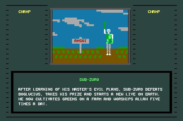 ASCII Kombat — End game screen for Sub-Zuro