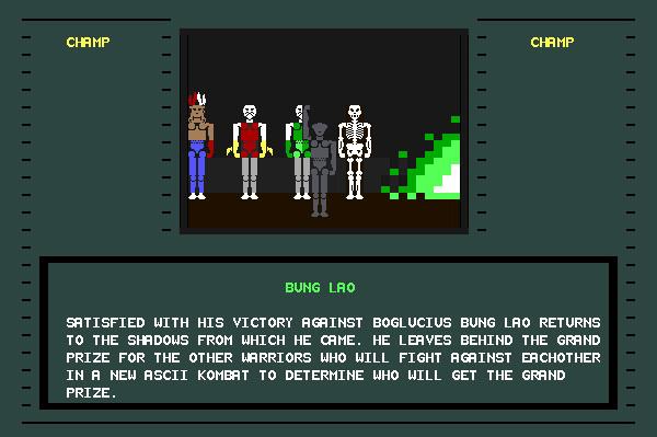 ASCII Kombat — End game screen for Bung Lao