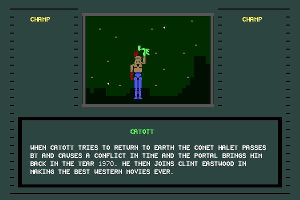 ASCII Kombat — End game screen for Cayote