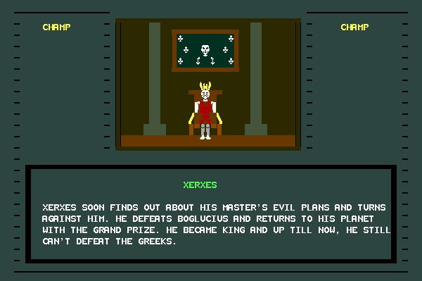 ASCII Kombat — End game screen for Xerxes