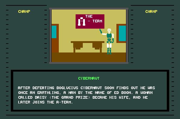 ASCII Kombat — End game screen for Cybernaut