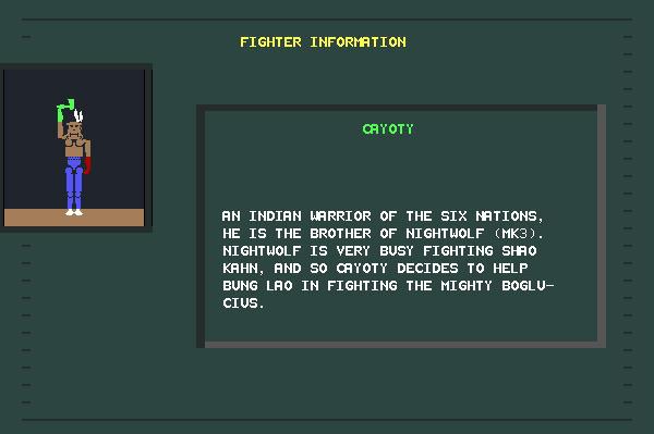 ASCII Kombat — Fighter Info Screen for Cayote