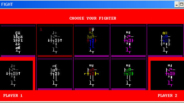 ASCII Kombat — Fighter selection screen (without custom font and colors loaded)
