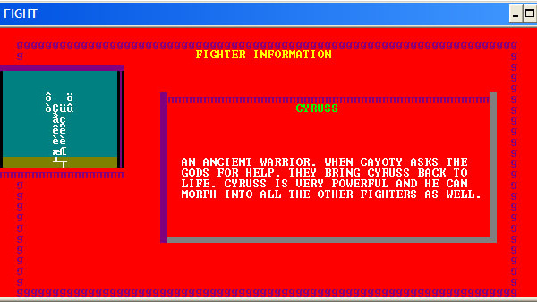 ASCII Kombat — Fighter Info Screen for Cyruss (without custom font and colors loaded)