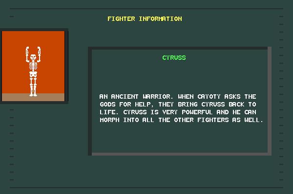 ASCII Kombat — Fighter Info Screen for Cyruss
